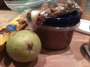 pear, banana, trail mix, overnight oats